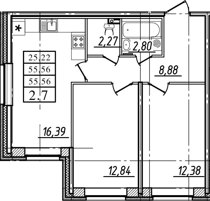 3-к.кв (евро), 55.56 м²