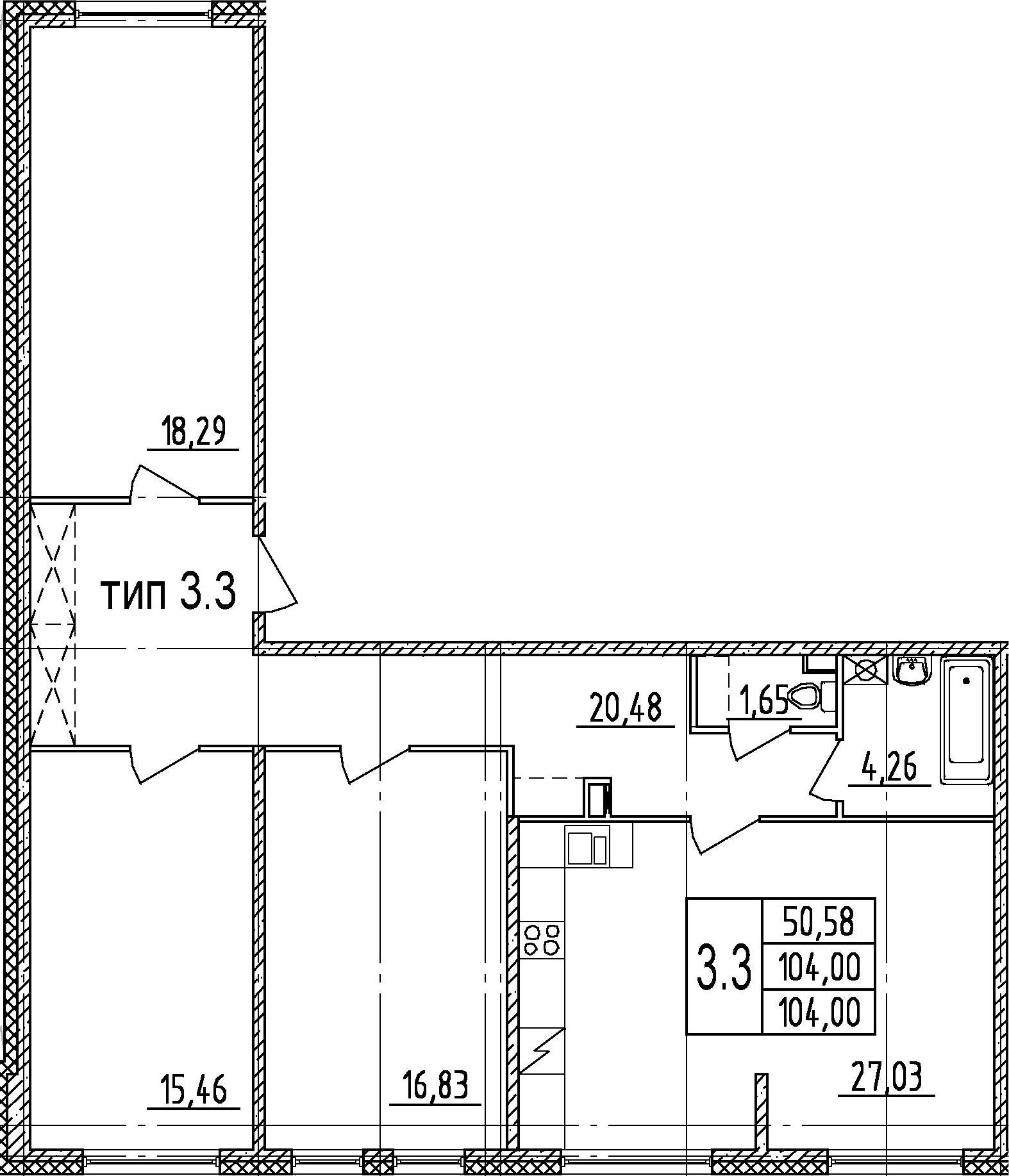 4-комнатная 104 м<sup>2</sup> на 1 этаже