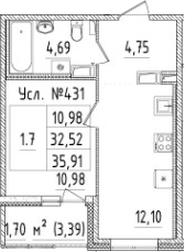 1-к.кв, 35.91 м²