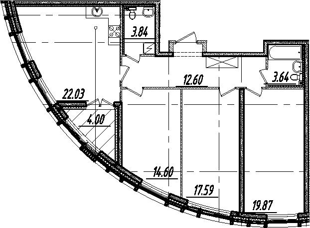 4-комнатная 98 м<sup>2</sup> на 10 этаже