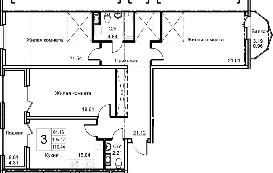3-комнатная 116 м<sup>2</sup> на 7 этаже