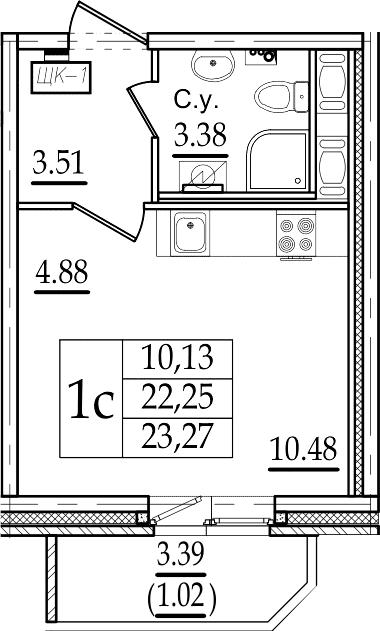 Студия 25 м<sup>2</sup> на 7 этаже