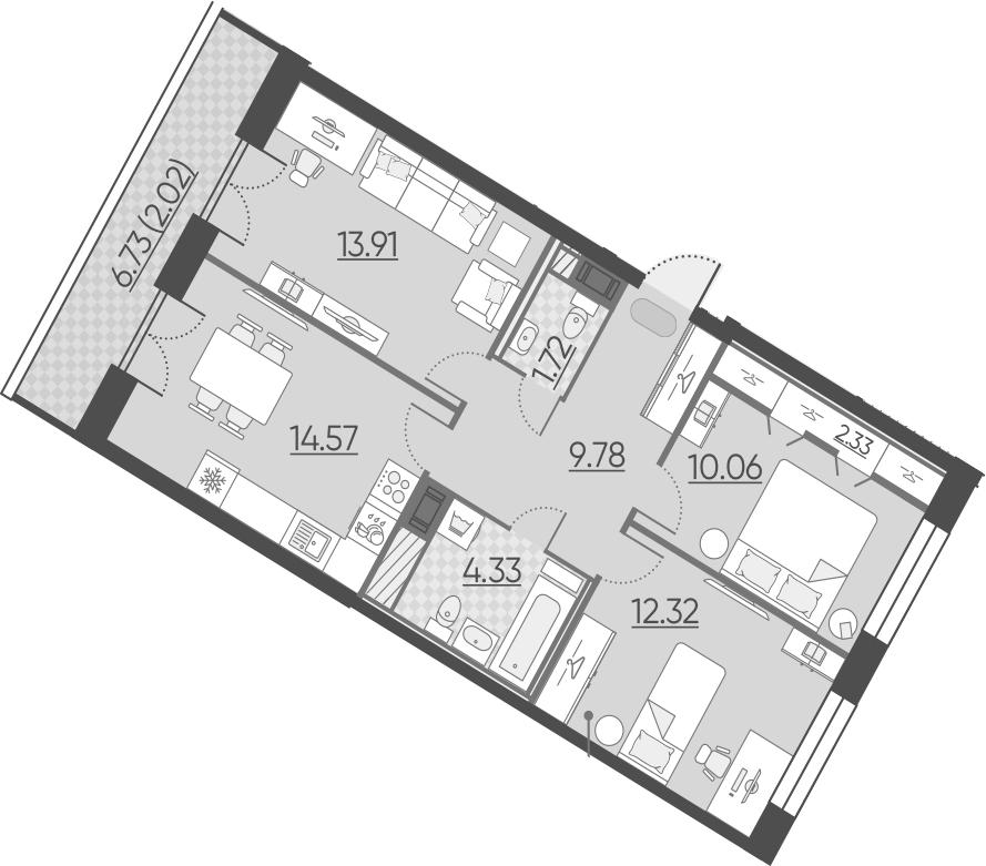 3-комнатная 75 м<sup>2</sup> на 10 этаже