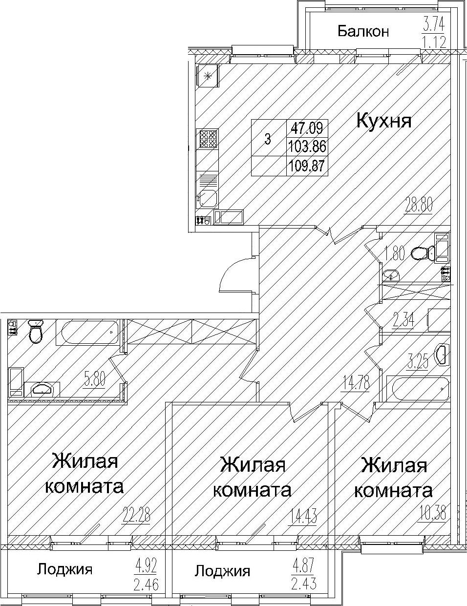 4-комнатная 117 м<sup>2</sup> на 5 этаже