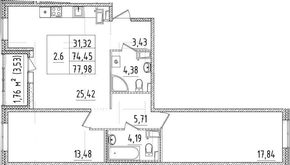 3-комнатная 77 м<sup>2</sup> на 4 этаже