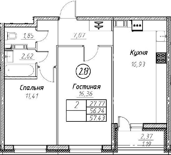 3-комнатная 58 м<sup>2</sup> на 2 этаже