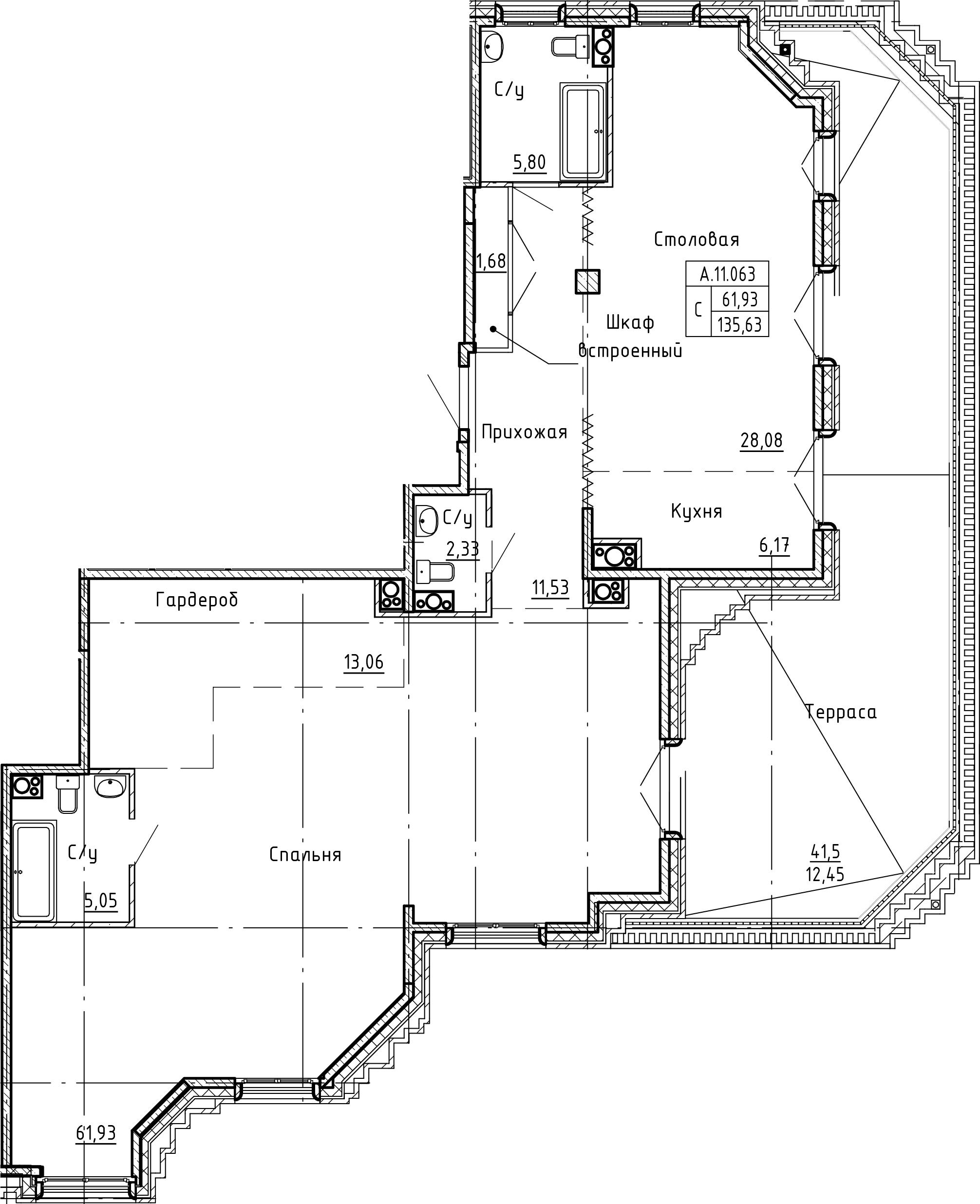 Студия 177 м<sup>2</sup> на 11 этаже