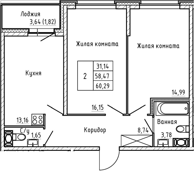 2-комнатная 62 м<sup>2</sup> на 3 этаже