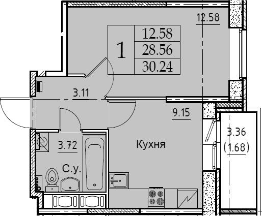 1-комнатная 31 м<sup>2</sup> на 10 этаже