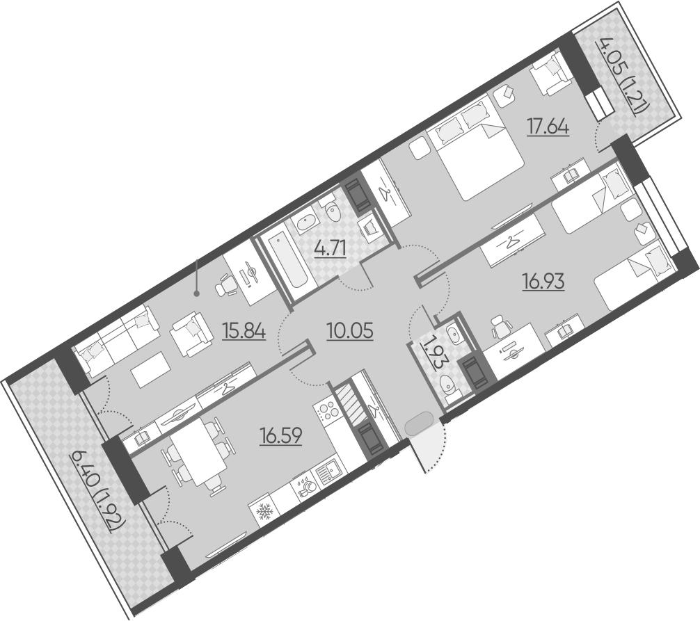 3-комнатная 94 м<sup>2</sup> на 10 этаже
