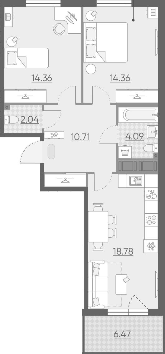 3-комнатная 70 м<sup>2</sup> на 9 этаже