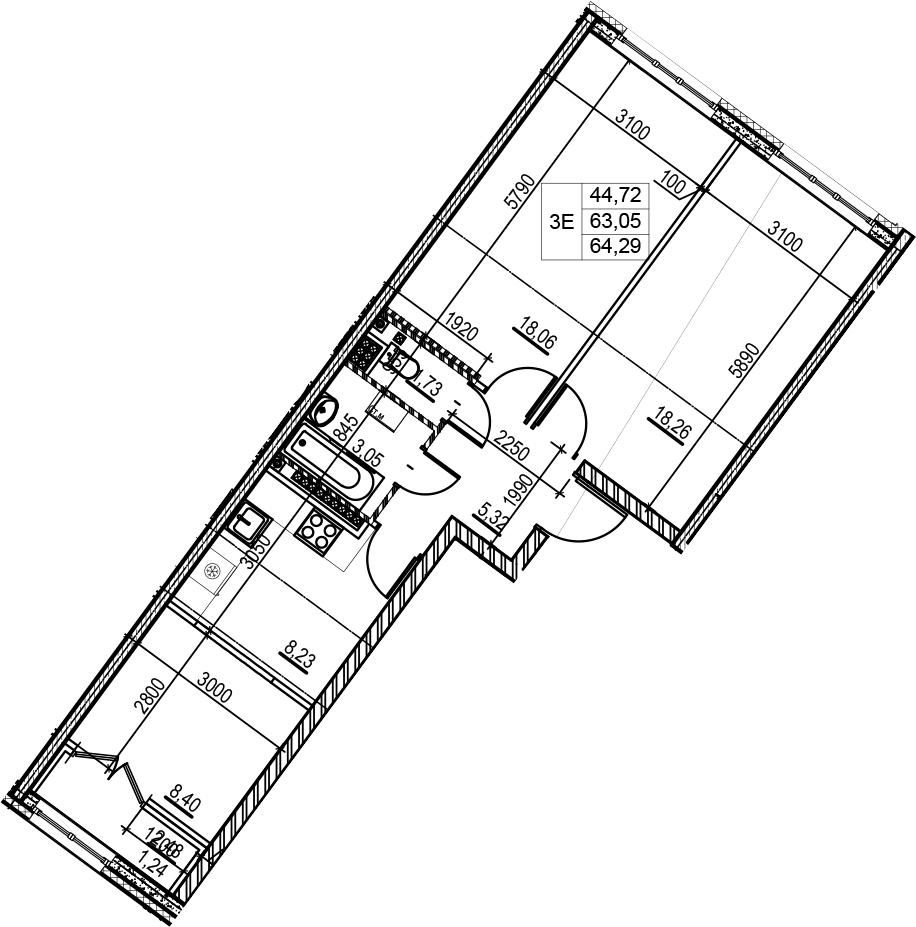 3-комнатная 65 м<sup>2</sup> на 8 этаже