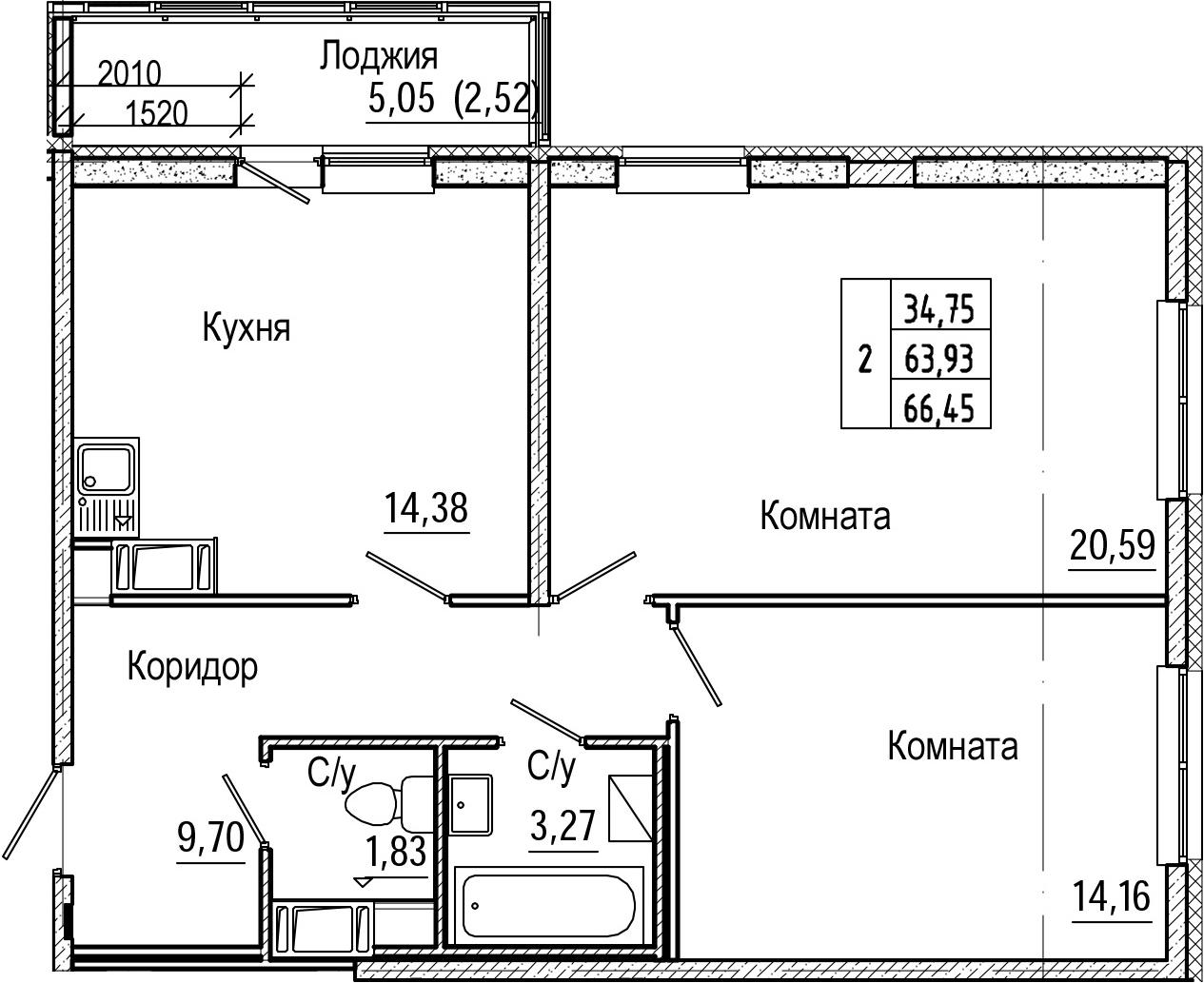 2-комнатная 68 м<sup>2</sup> на 9 этаже