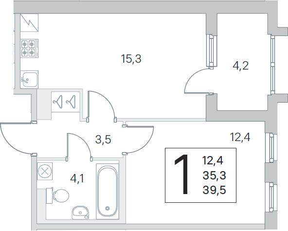 2-комнатная 43 м<sup>2</sup> на 5 этаже