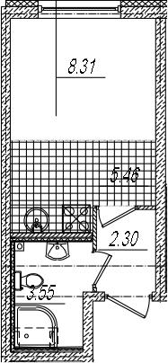 Студия 19 м<sup>2</sup> на 2 этаже