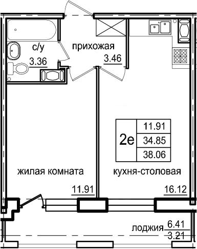 2-комнатная 41 м<sup>2</sup> на 5 этаже
