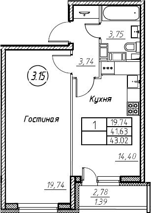 1-комнатная 44 м<sup>2</sup> на 17 этаже
