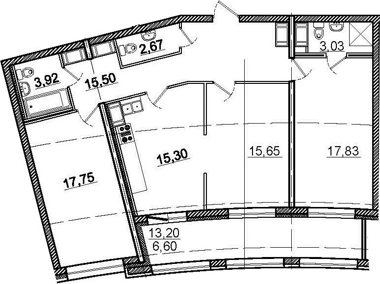 3-комнатная 104 м<sup>2</sup> на 14 этаже