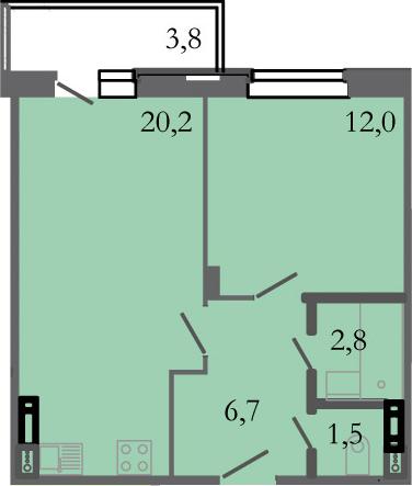 2-комнатная 46 м<sup>2</sup> на 2 этаже