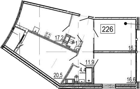 4-комнатная 92 м<sup>2</sup> на 11 этаже