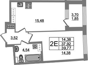 2-комнатная 41 м<sup>2</sup> на 15 этаже