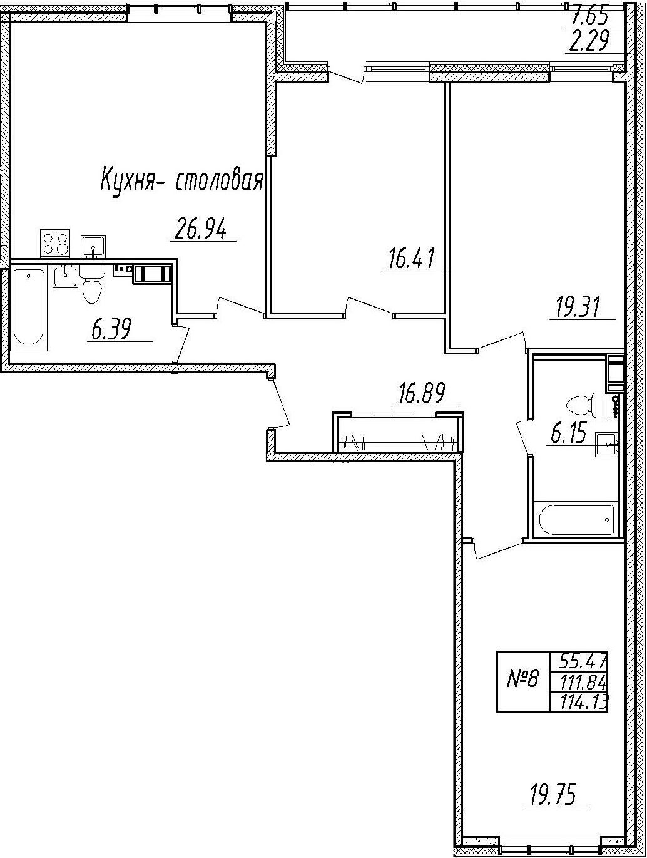 4-комнатная 119 м<sup>2</sup> на 3 этаже