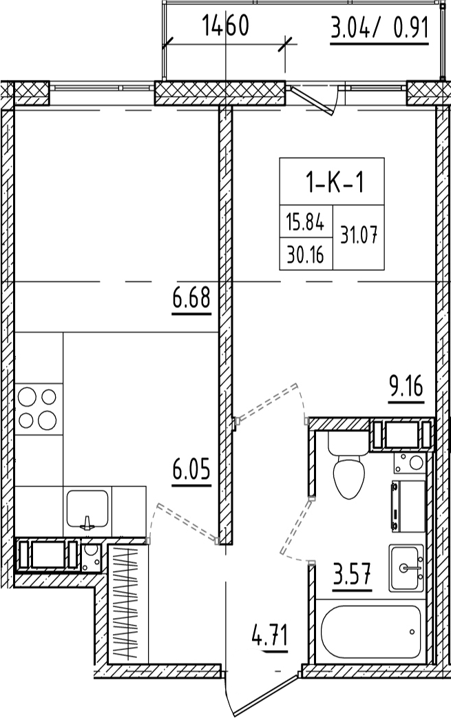 2-к.кв (евро), 33.25 м²