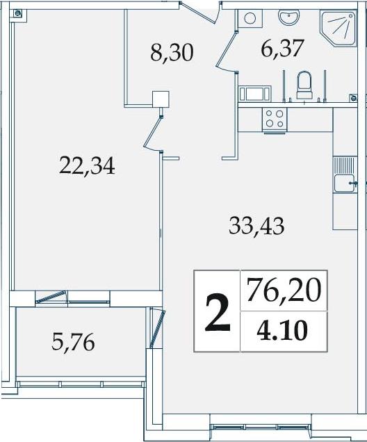 2-комнатная 76 м<sup>2</sup> на 4 этаже