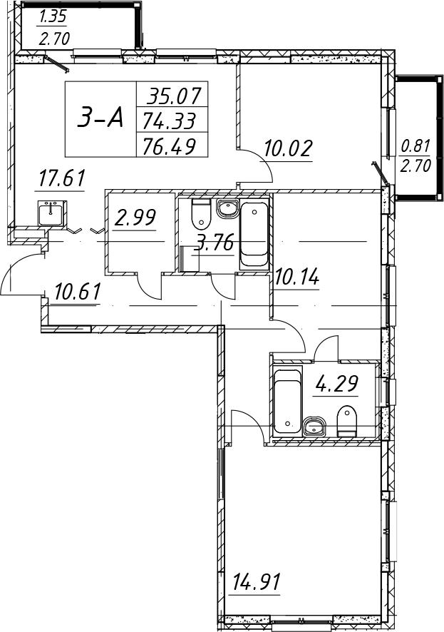 4-комнатная 79 м<sup>2</sup> на 1 этаже