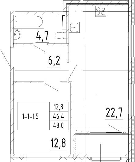 2-комнатная 49 м<sup>2</sup> на 2 этаже