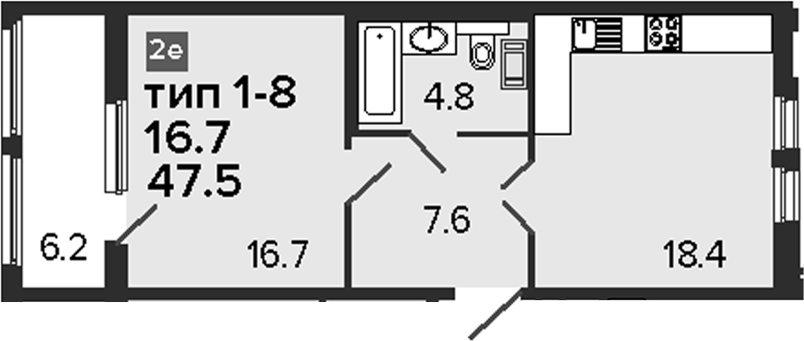 2-комнатная 53 м<sup>2</sup> на 6 этаже