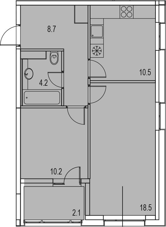 2-комнатная 56 м<sup>2</sup> на 12 этаже