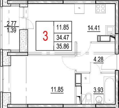 2-к.кв (евро), 37.25 м²