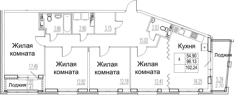 4-комнатная 106 м<sup>2</sup> на 8 этаже