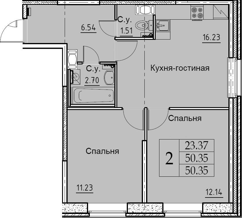 3-комнатная 50 м<sup>2</sup> на 1 этаже
