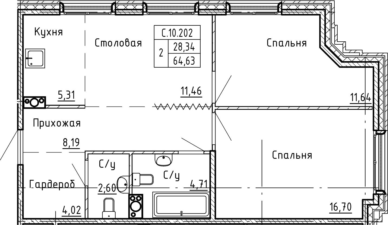 3-комнатная 64 м<sup>2</sup> на 10 этаже