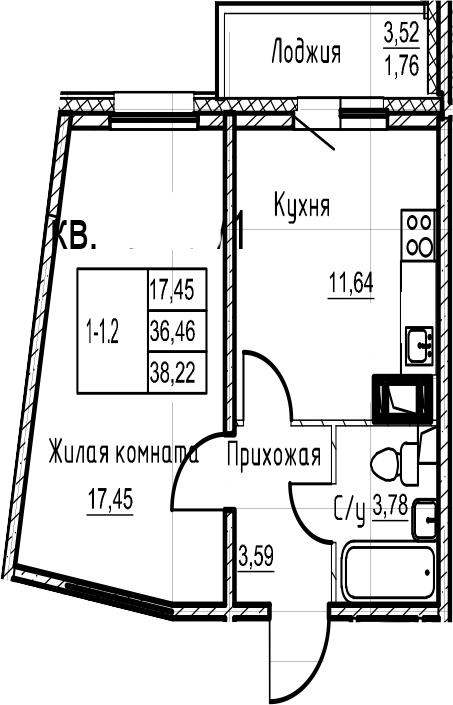1-комнатная 39 м<sup>2</sup> на 18 этаже