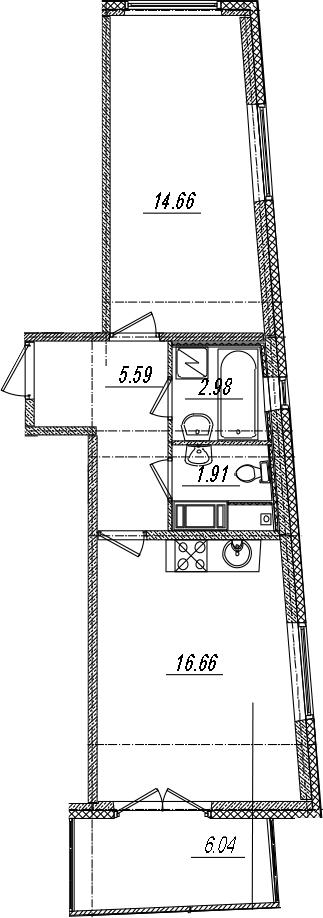 2-комнатная 47 м<sup>2</sup> на 4 этаже