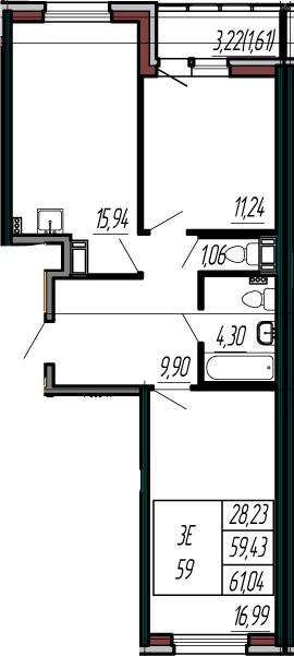 3-к.кв (евро), 62.65 м²