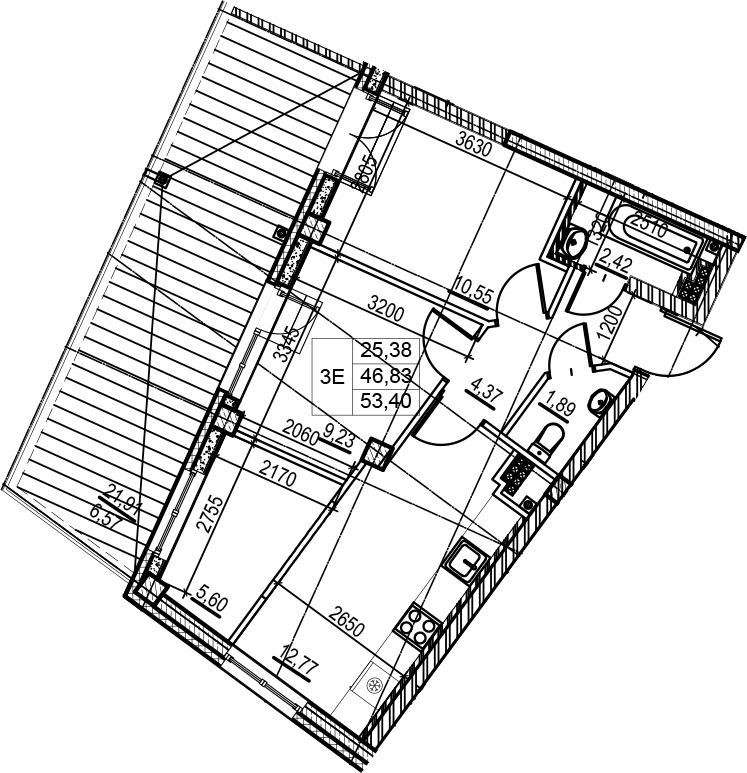 3-комнатная 68 м<sup>2</sup> на 7 этаже