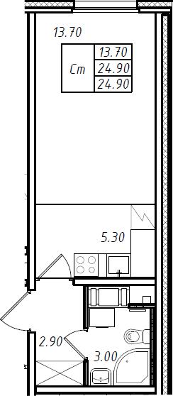 Студия 24 м<sup>2</sup> на 17 этаже
