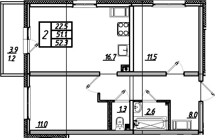 3-комнатная 55 м<sup>2</sup> на 7 этаже