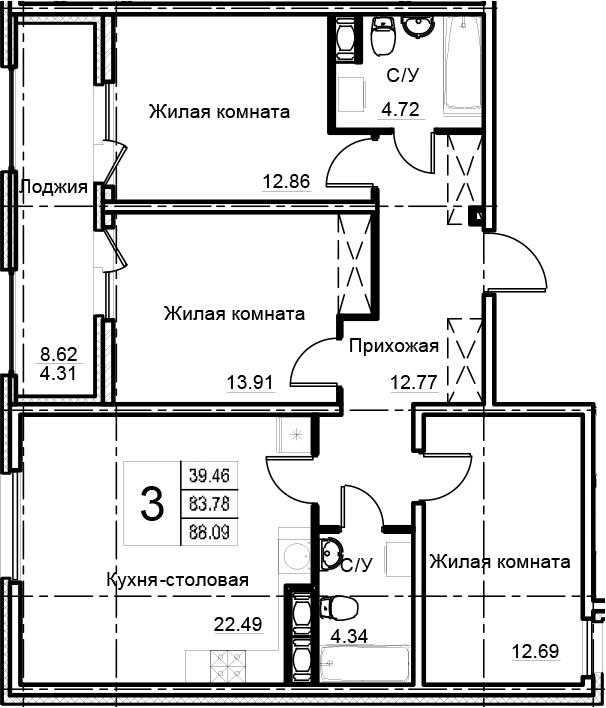 4-комнатная 92 м<sup>2</sup> на 5 этаже