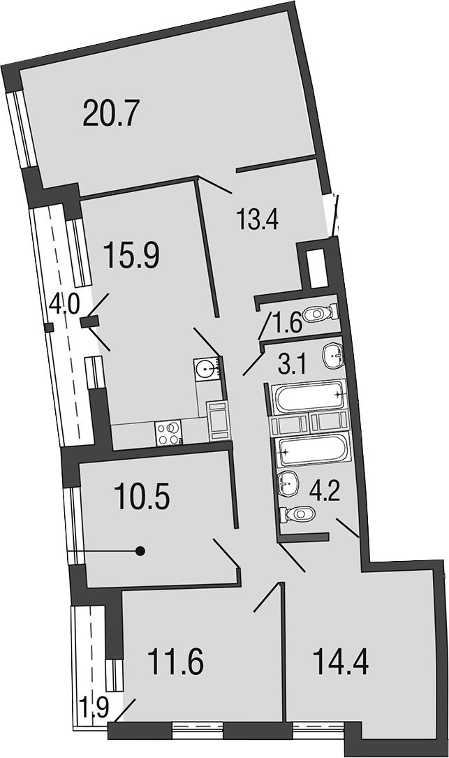 4-комнатная 101 м<sup>2</sup> на 13 этаже
