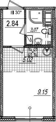 Студия 20 м<sup>2</sup> на 8 этаже