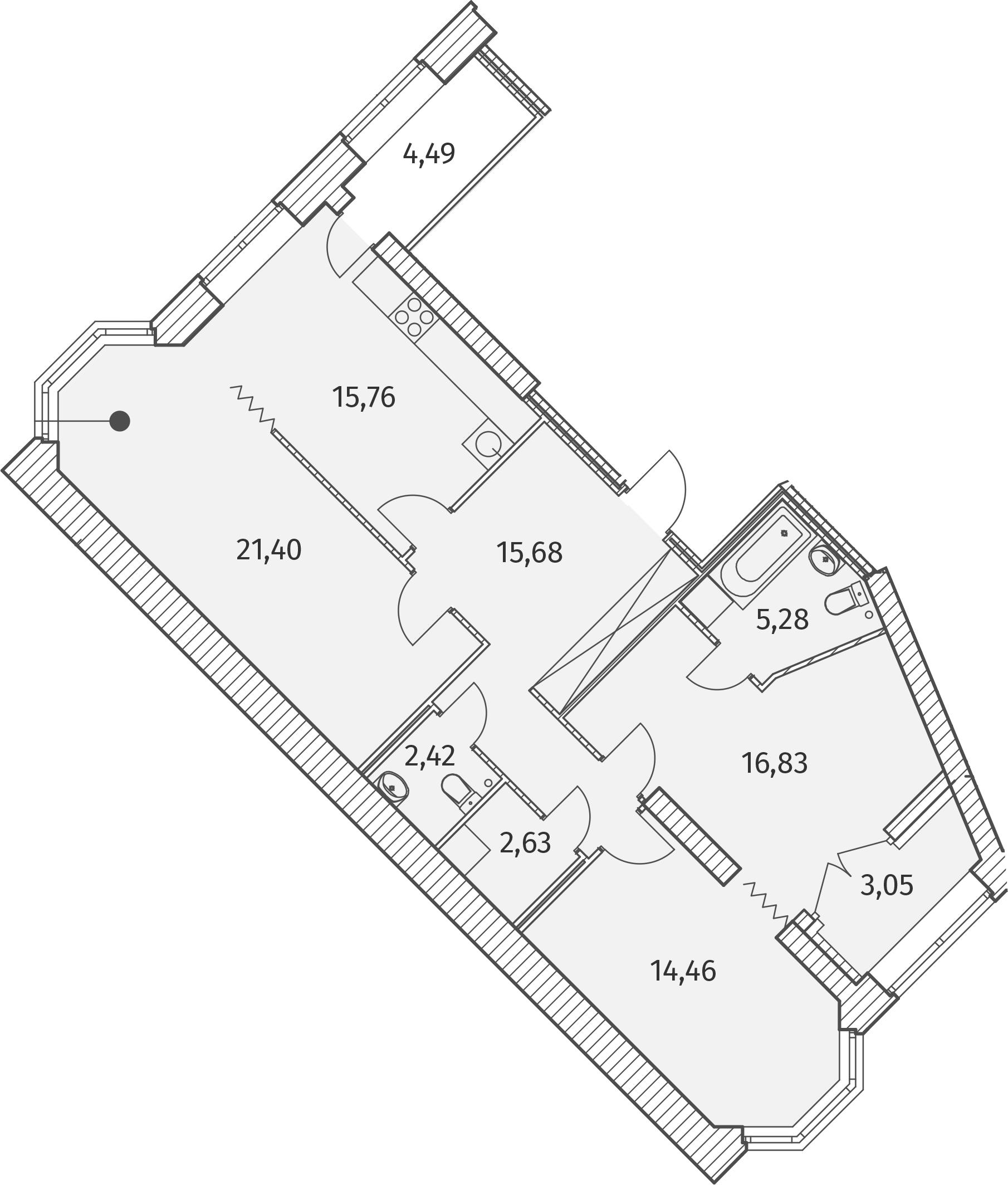 2-комнатная 102 м<sup>2</sup> на 2 этаже