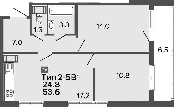 3-комнатная 60 м<sup>2</sup> на 22 этаже
