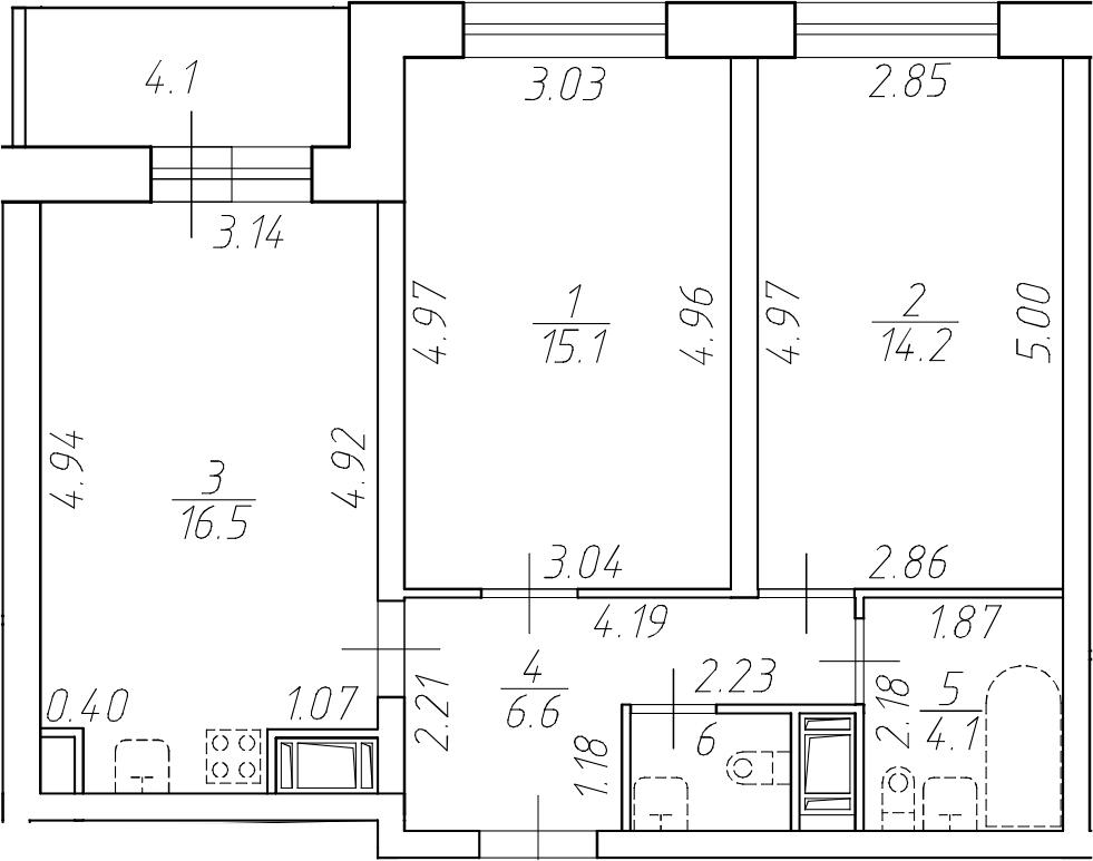 3-комнатная 62 м<sup>2</sup> на 17 этаже