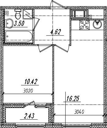 2-комнатная 37 м<sup>2</sup> на 14 этаже