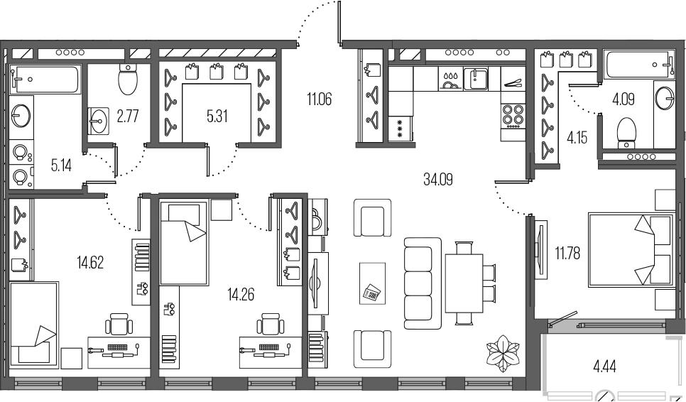 4-комнатная 111 м<sup>2</sup> на 5 этаже